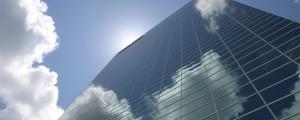 clouds, skyscraper