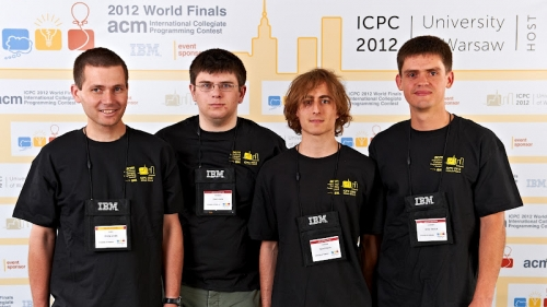 University of Waterloo's ICPC top 10-finishing team from 2012, Tyson Andre, Benoit Maurin, and Anton Raichuk with coach Prof. Ondrej Lhotak (left).