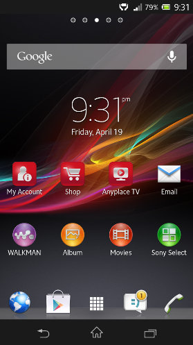 Sony Zperia homescreen