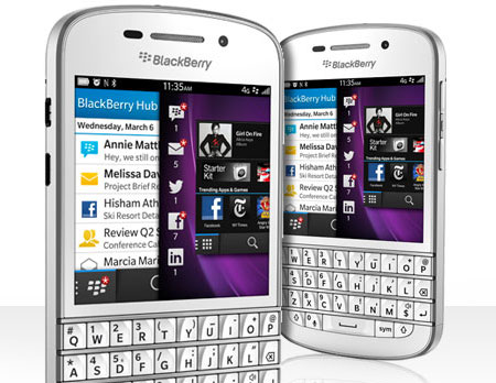 White BlackBerry Q10. Image courtesy of Rogers.