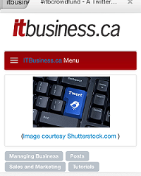 (Image: screenshot of IT Business.ca site from a smartphone).