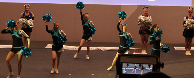 University ITMO cheerleaders perform at the ICPC world finals in St. Petersburg.
