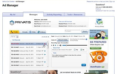 """Messages tab on AutoTrader.com, from Privatis' """"Privacy Shield"""" service."""