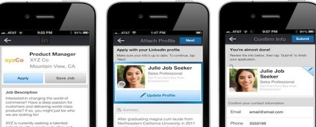 LinkedIn mobile job application