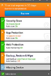 McAfee app on Sony Xperia Z.