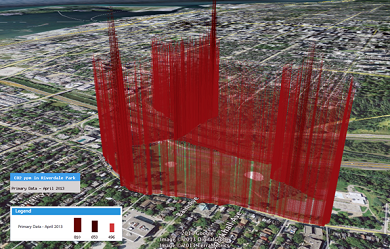 A data visualization from Data Appeal, showing carbon dioxide levels along Toronto's Don Valley Parkway.