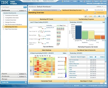 IBM's dashboard for digital marketing optimization.