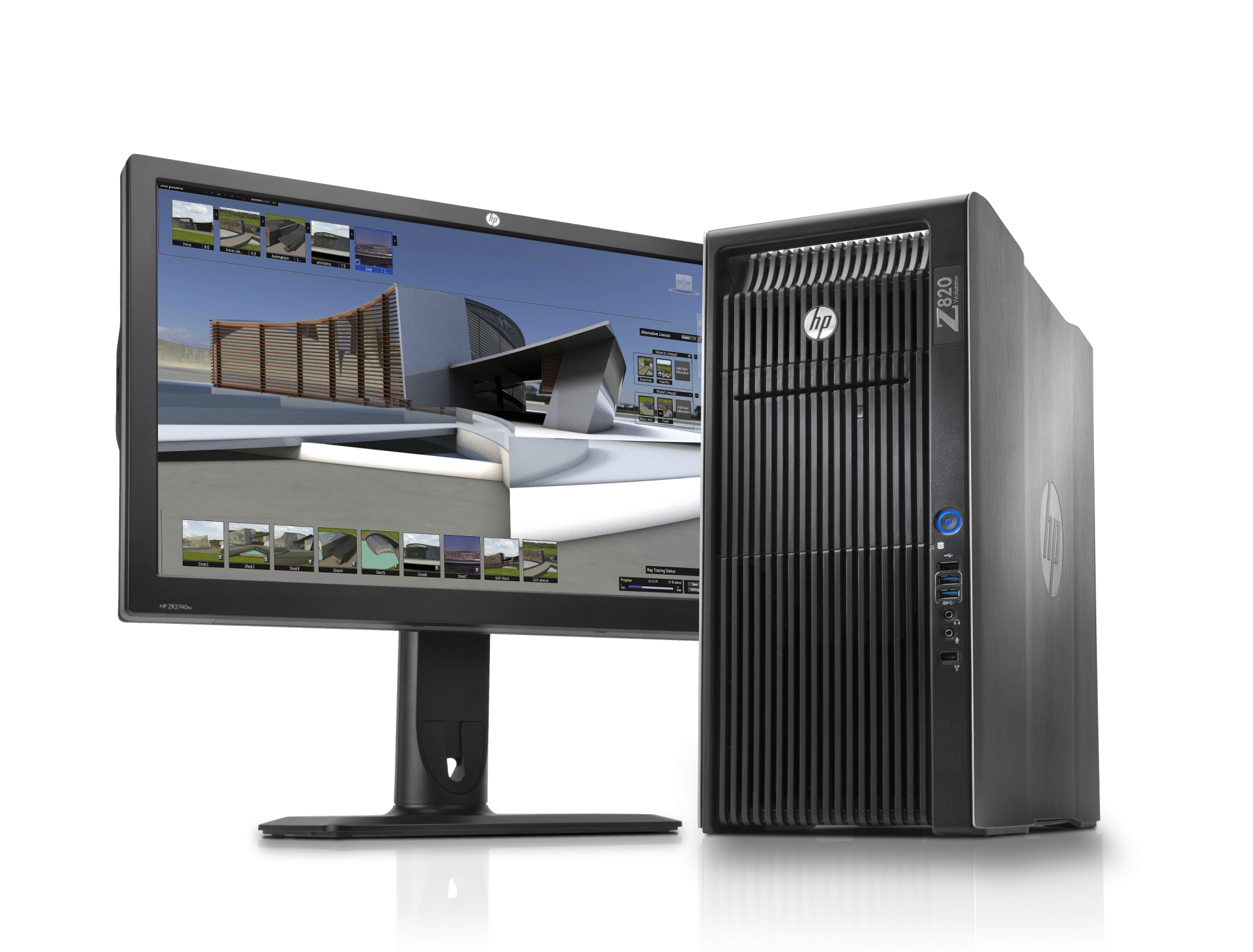 The HP Z820 workstation and ZR2440w display