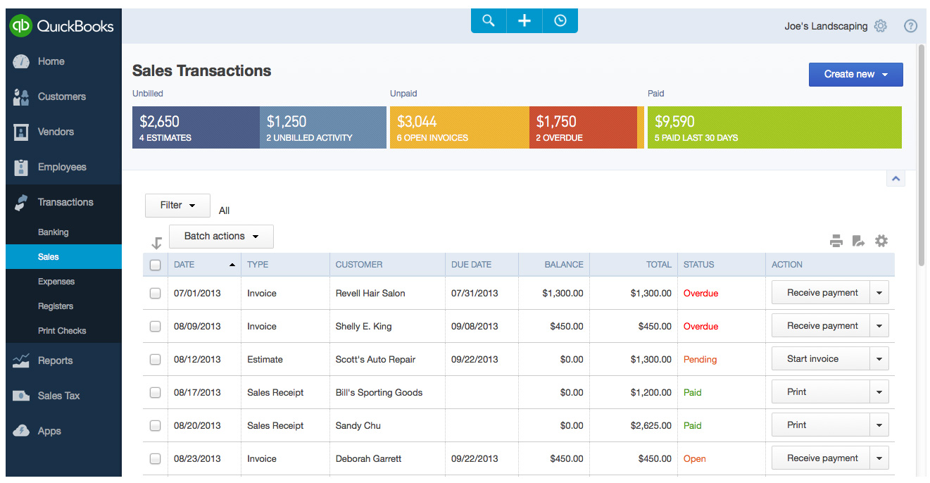 A screenshot shows the Sales Transactions features in the newly redesigned QuickBooks Online.