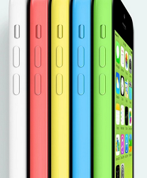 The iPhone 5C comes in white, pink, yellow, light blue, and green.