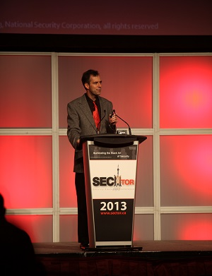 (Image: SecTor). G. Mark Hardy addressing conference attendees during his keynote speech.