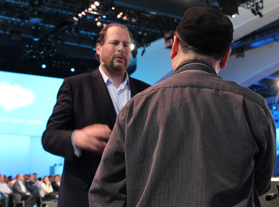 Salesforce.com CEO Marc Benioff takes questions from the audience ahead of the Mayer interview.