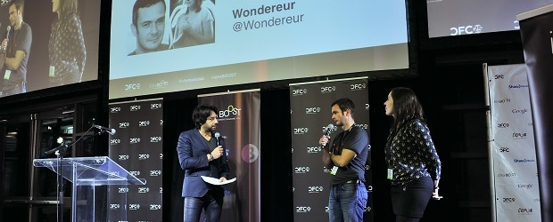 (Image: IdeaBoost). IdeaBoost's launch event for the graduates of its second cohort, and the introduction of the third cohort.  (Left to right): Jian Ghomeshi, IdeaBoost event host and host of CBC's Q; Olivier Berger and Sophie Perceval,  co-founders of Wondereur.