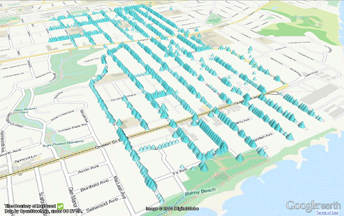 (Image: DataAppeal). Data visualization showing energy efficient homes in the Beaches.