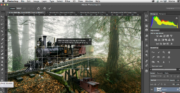 (Image: Adobe). The Perspective Warp tool in Photoshop.