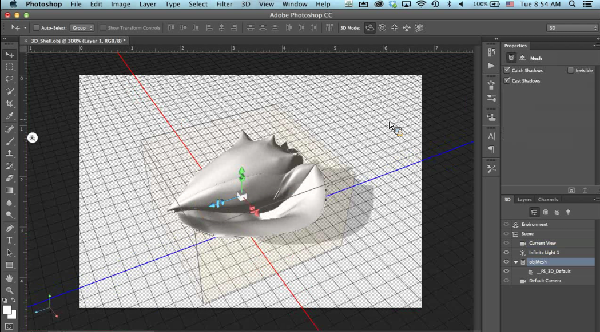 (Image: Adobe). 3D model of a conch shell.