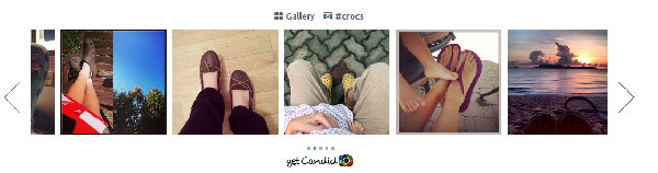 (Image: Candid). Instagram gallery showing user-generated photos for the Crocs brand.