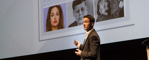 Nick Drew, head of research at Yahoo Canada, speaking at Advertising and Marketing Week. (Image: Yahoo)