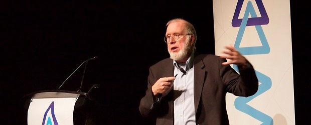 (Image: Dave West). Kevin Kelly, opening keynote speaker at Advertising and Marketing Week 2014.