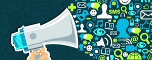 Megaphone with Social Media icons