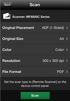 Screenshot of Canon's mobile scanning app for business. (Image: Canon Canada Inc.)