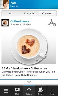Sponsored content in BBM Channels. (Image: BlackBerry).