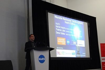 Tom Emrich, co-organizer of We Are Wearables, at MaRS DD.
