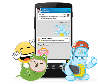 Virtual stickers in BBM. (BlackBerry).