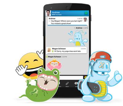 Virtual stickers in BBM. (BlackBerry).