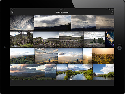 Users can import photos from the iPad or iPhone's camera roll straight to Lightroom. (Image: Adobe).