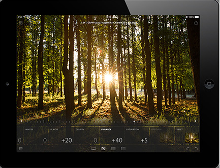 Editing a photo using the iPad and Adobe Lightroom mobile. (Image: Adobe).