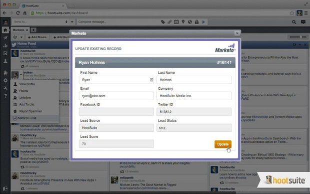 Logging into the Marketo app with HootSuite. (Image: HootSuite).