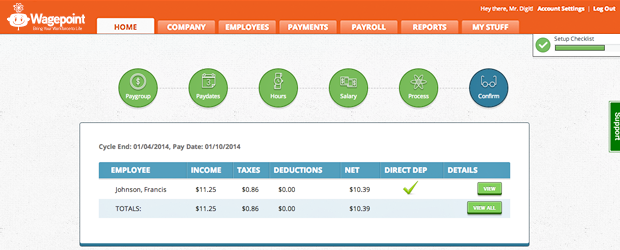 "Wagepoint's payroll solution, ""Pay."" (Image: Wagepoint)."