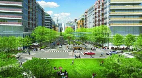 Toronto's mixed-use waterfront development includes a 1 Gbps public-access network. (Image courtesy of Waterfront Toronto.)