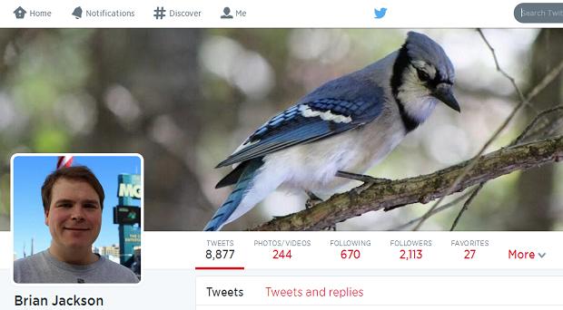 Brian Jackson's profile on Twitter.