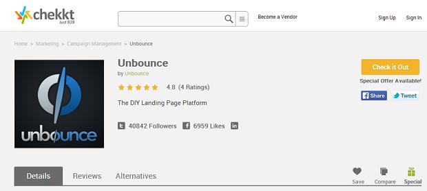 Unbounce's page on Chekkt. (Image: Chekkt).