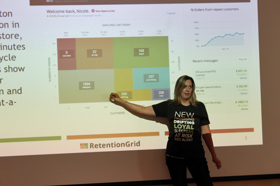 """Shopify's platform is appealing because of its """"gangbusters"""" growth, says Sandy Hathaway, CMO at RetentionGrid."""