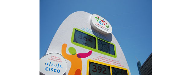 The new Cisco Toronto 2015 Countdown clock, set up in Toronto's Nathan Phillips Square.