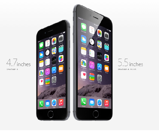 The iPhone 6 and the iPhone 6 Plus. (Image: Apple).