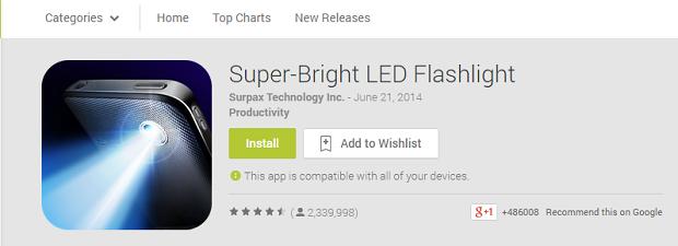 The Super-Bright LED flashlight app.