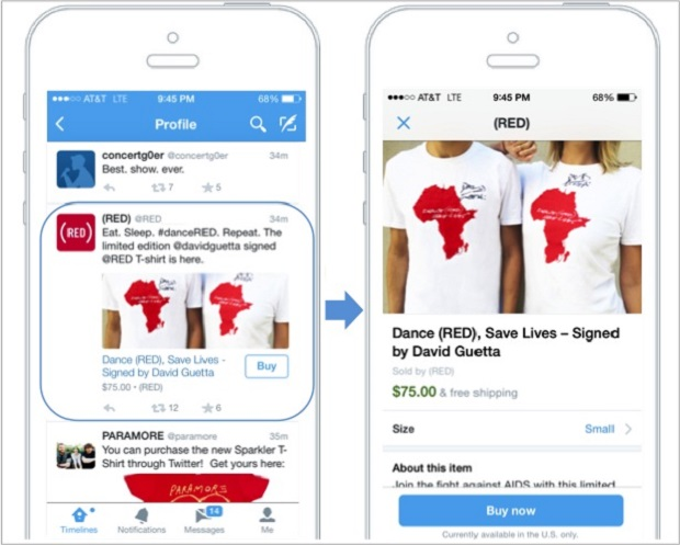 Example of the Twitter Buy Now button. (Image: Twitter).