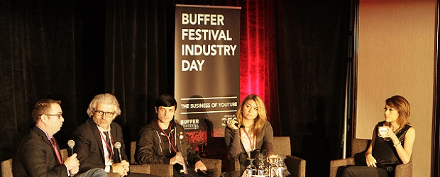 Left to right: Bob Jennings, David Jones, Matt Martin, Nadine Sykora, and panel moderator Shira Lazar.  (Image: Buffer Festival Industry Day).