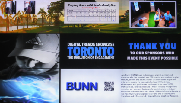 """The """"Club House"""" video wall integrated images from demonstrations, analytics and promotion."""