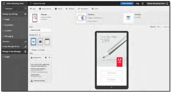 Adobe Marketing Cloud's in-app message editor window