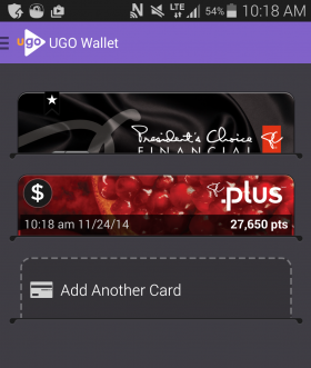 UGO Wallet - home screen