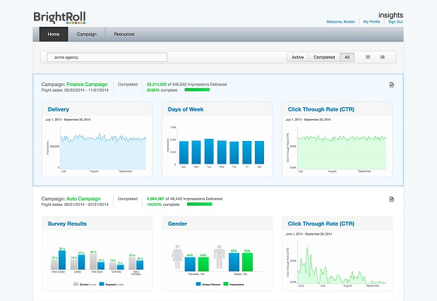 BrightRoll insights dashboard example