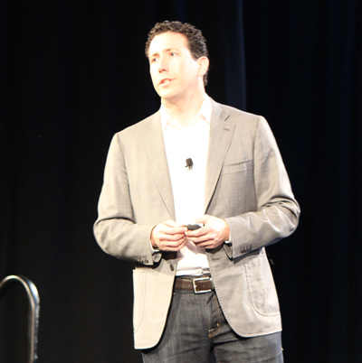 Daniel Debow, SVP of emerging business for Salesforce, delivers the Salesforce Wear keynote at Dreamforce last October.