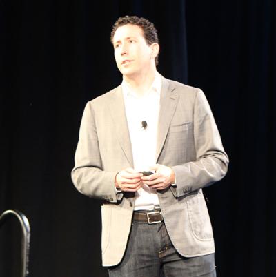 Daniel Debow, SVP of emerging business for Salesforce, delivers the Salesforce Wear keynote at Dreamforce last October.
