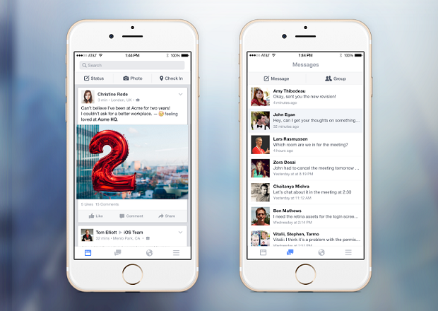 Facebook at Work shown on two mobile devices