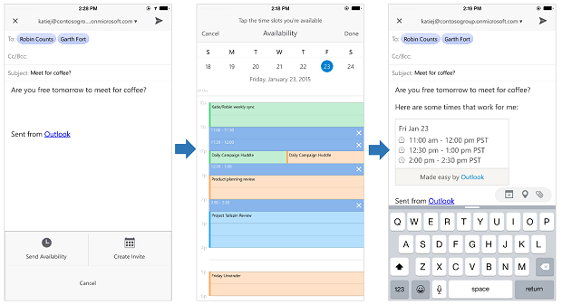 Scheduling meetings from Microsoft Outlook.